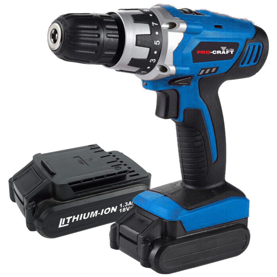 Pro-Craft by Hilka 18V Li-Ion Cordless Drill with 2 Battery Packs
