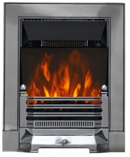 Focal Point Fires Fires Edwardian Cast Iron LED Inset Electric Fire - Satin Chrome