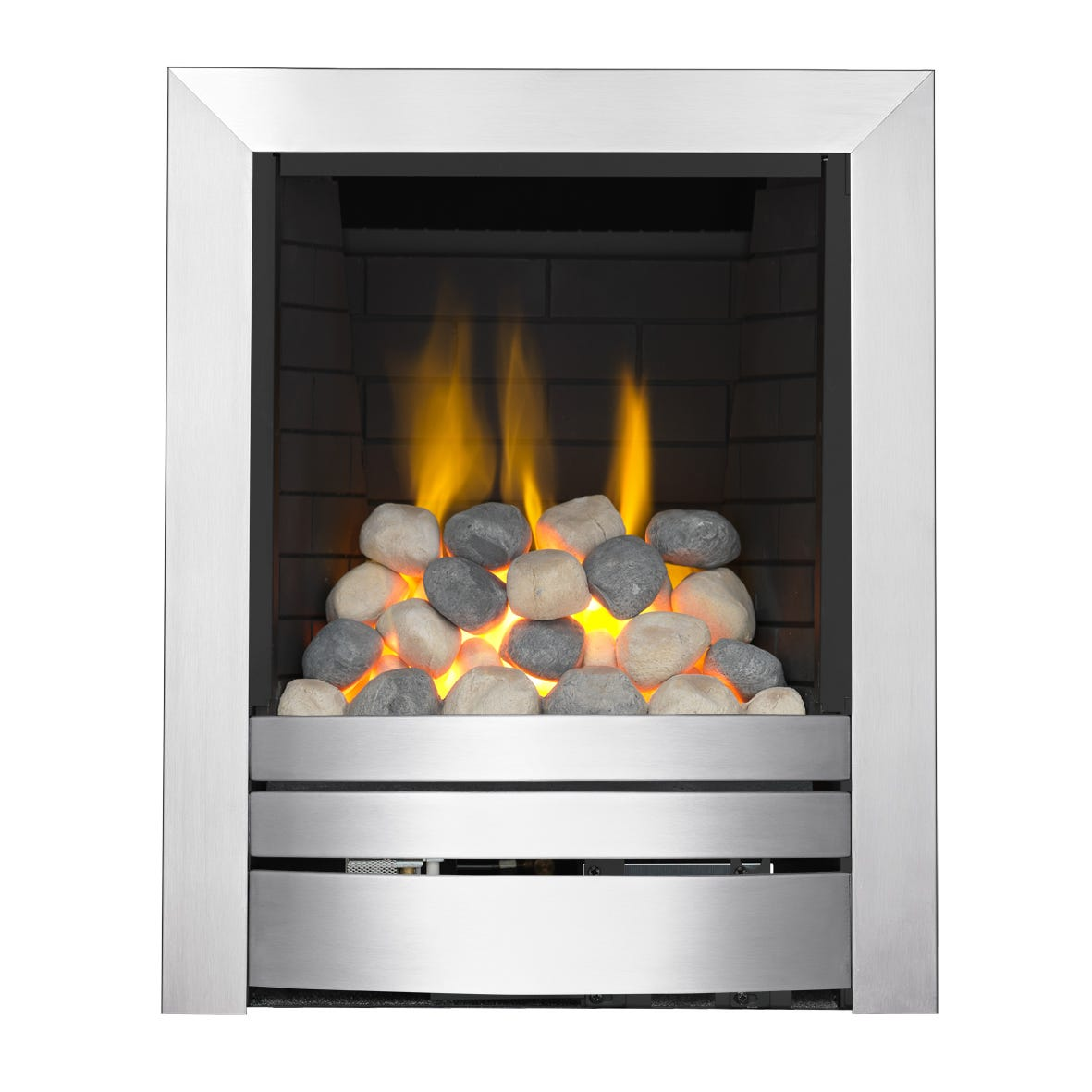 Focal Point Fires Lorient Brushed Steel Full Depth Radiant Gas Fire - Chrome