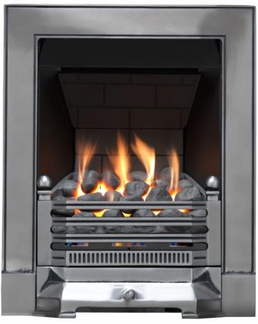 Focal Point Fires Edwardian Slimline Radiant Cast Iron Gas Fire - Satin Chrome