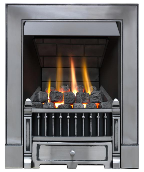 Focal Point Fires Victorian Slimline Radiant Cast Iron Gas Fire - Satin Chrome