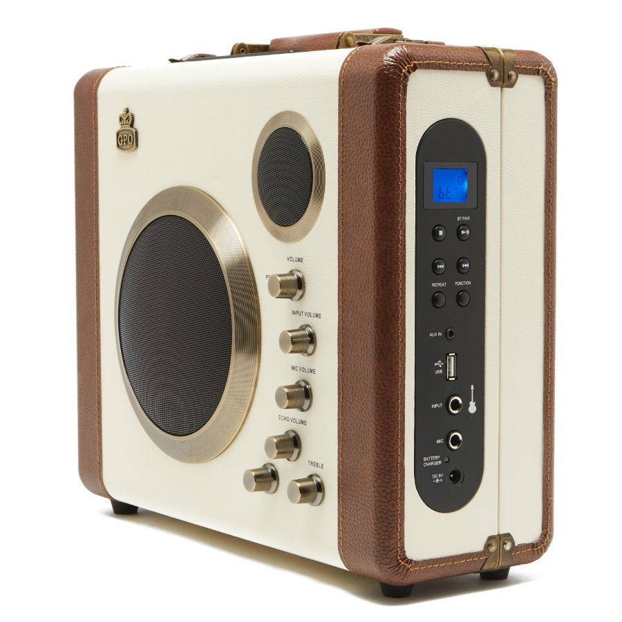 Compare prices for GPO Retro Manga Bluetooth Speaker and Amplifier System - Cream / Tan