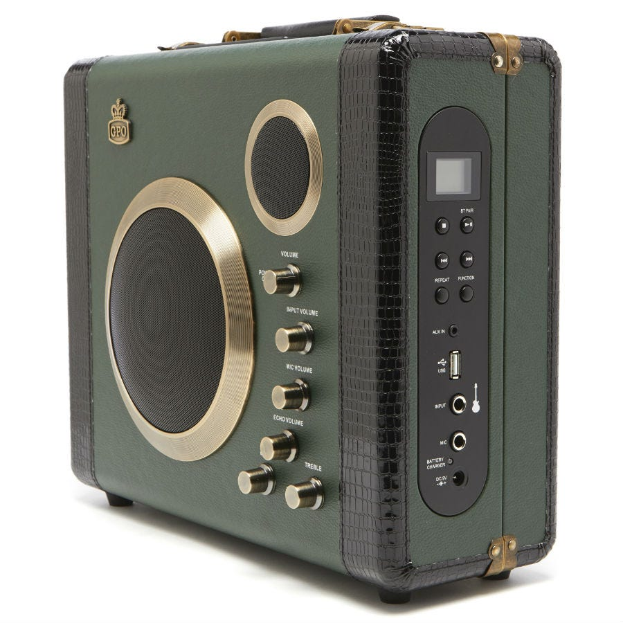Compare prices for GPO Retro Manga Bluetooth Speaker and Amplifier System - Green / Black