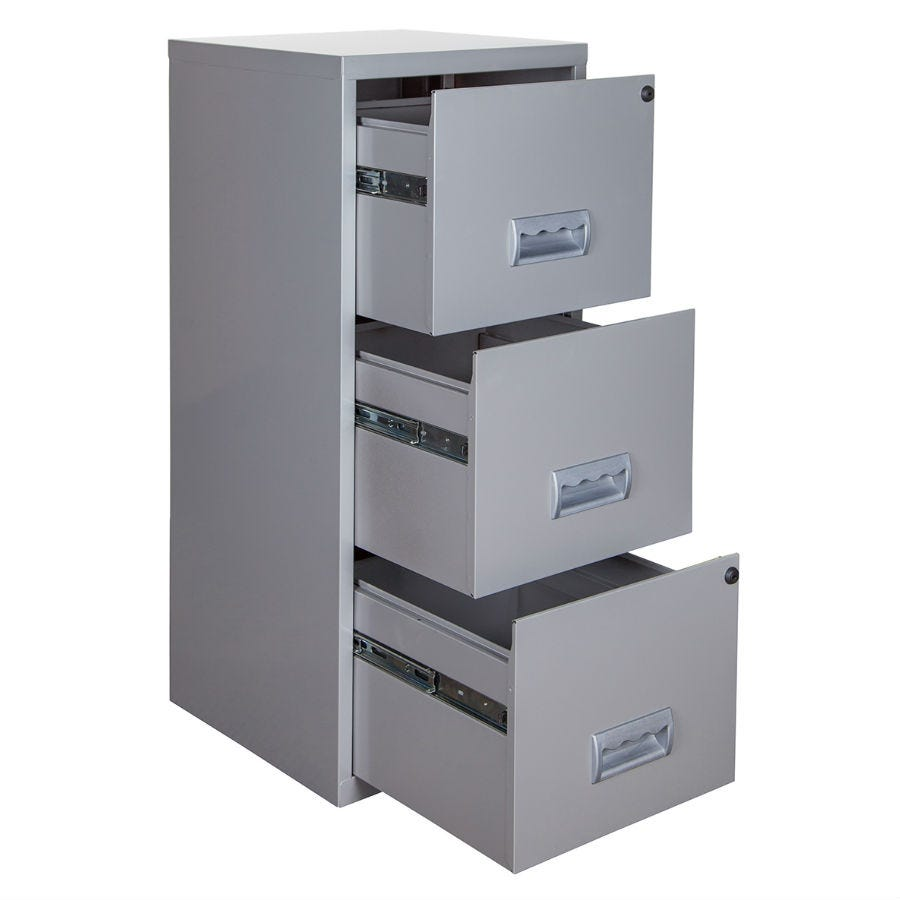 Pierre Henry 3-Drawer Maxi Filing Cabinet - Silver