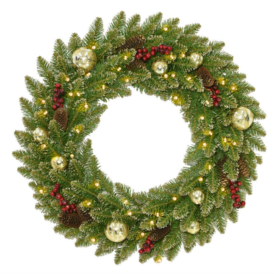 Compare prices for National Tree Company Glittery Gold Dunhill Fir Wreath