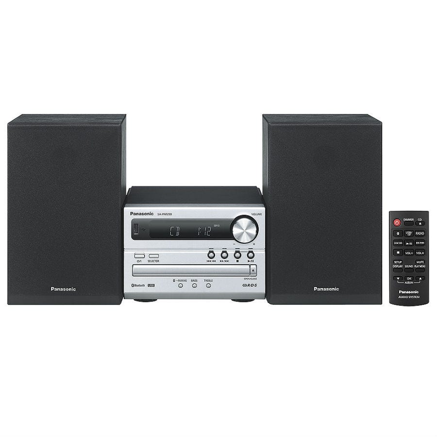 Panasonic SC-PM250EB-S 20W Micro Hi-Fi CD System with Bluetooth - Silver