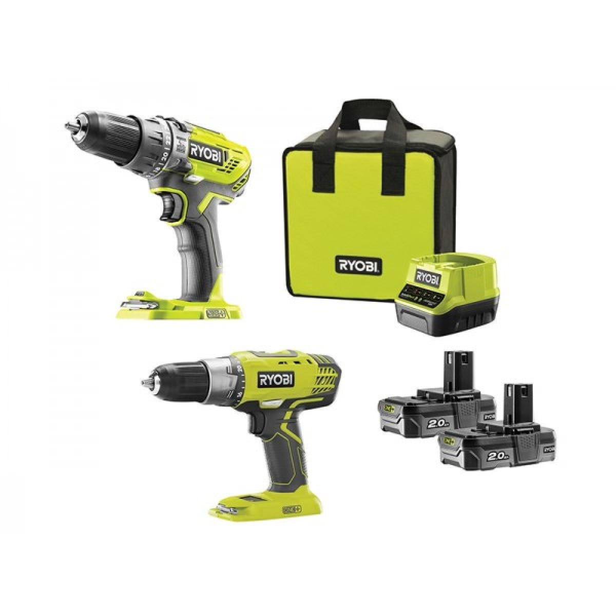 Ryobi ONE+ 18V Cordless Combi Drill and Drill Driver Twin Pack 2 x 2.0Ah Li-ion with Carry Case