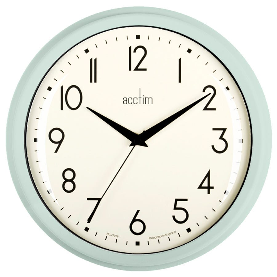 Image of Acctim Elodie Retro Wall Clock - Mint