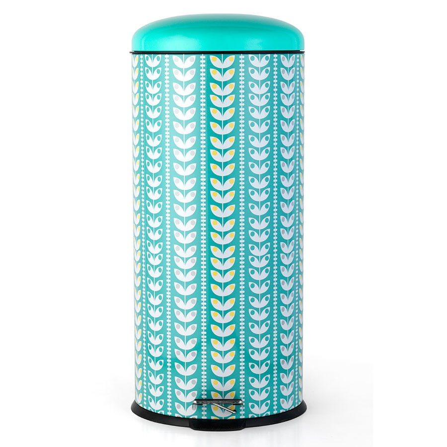 Salter BW04606 Retro Leaf 30-Litre Pedal Bin - Turquoise