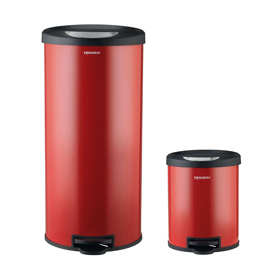 Progress BW04729R 30-Litre and 5-Litre Round Pedal Bin Set - Red