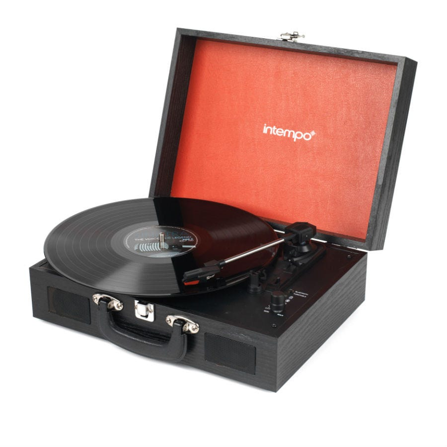 Compare prices for Intempo Rechargeable Bluetooth Wooden-Effect Turntable