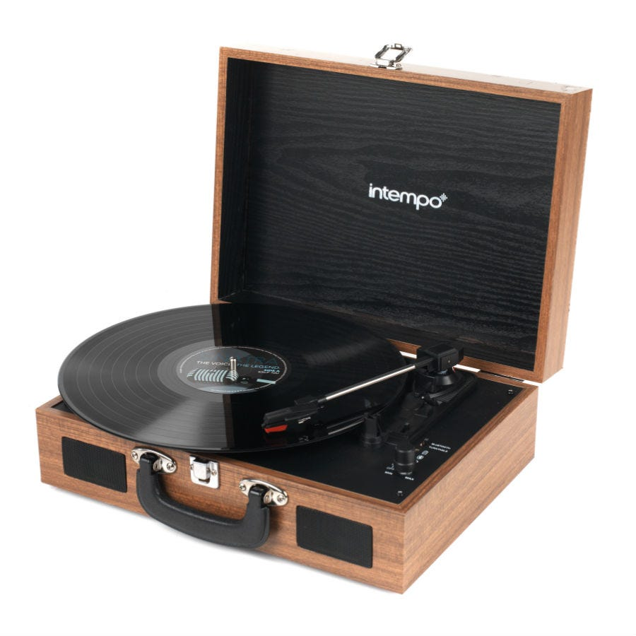 Compare prices for Intempo Rechargeable Bluetooth Wooden-Effect Turntable - Tan