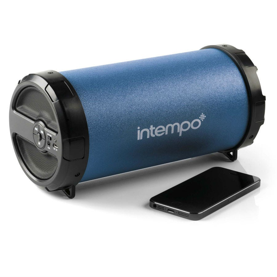 Intempo Large Rechargeable Bluetooth Tube Speaker - Blue