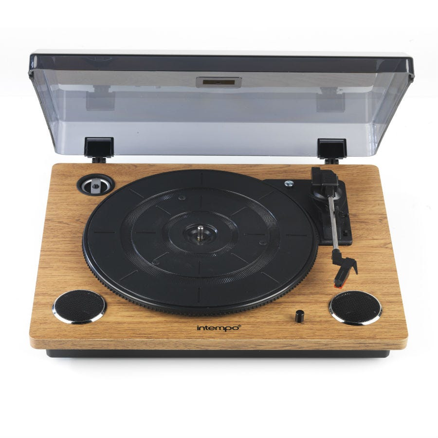 Compare prices for Intempo Revolve Turntable Record Player - Oak