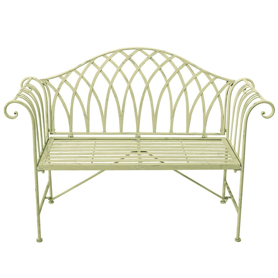 My Botanical Garden Wrought Iron Garden Bench - Green