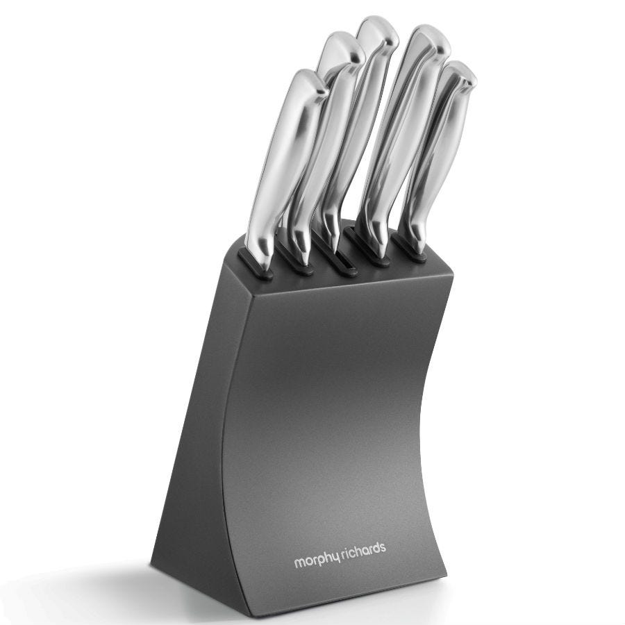 Compare cheap offers & prices of Morphy Richards Accents 5-Piece Knife Block - Titanium manufactured by Morphy Richards