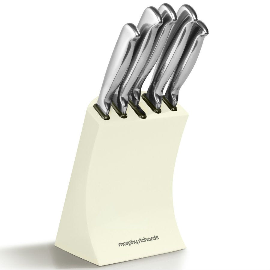 Compare cheap offers & prices of Morphy Richards Accents 5-Piece Knife Block - Cream manufactured by Morphy Richards