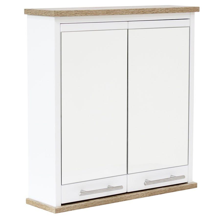 Image of Alethea Bathroom Mirror Cabinet - White Oak