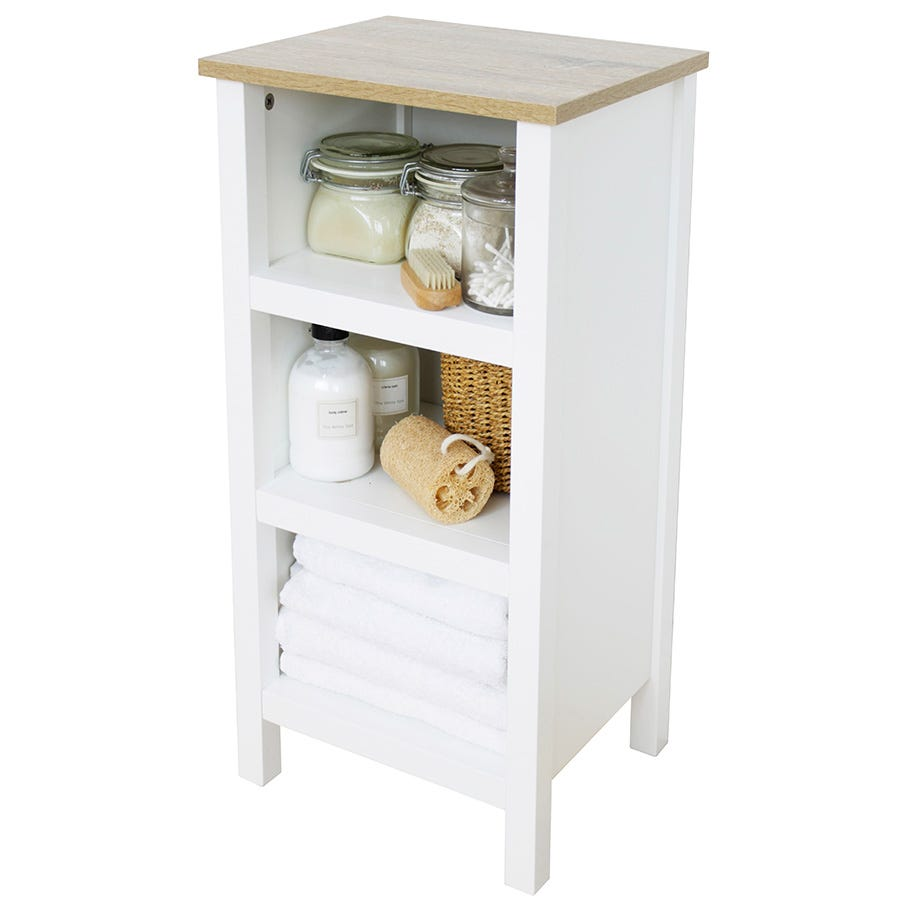 Image of Alethea 3-Shelf Bathroom Unit - White Oak