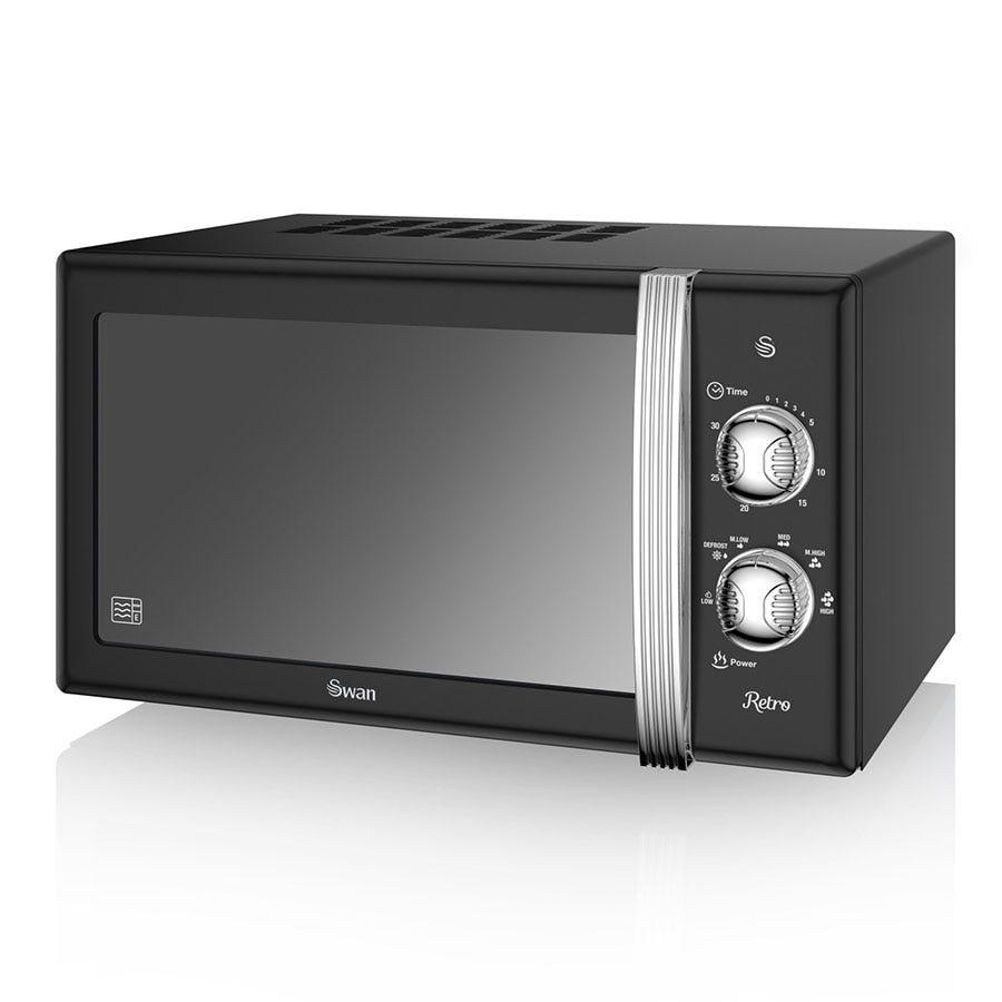 Swan Retro SM22130BN 800W 20L Manual Solo Microwave - Black