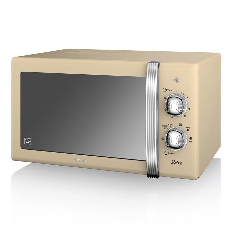Swan Retro SM22130CN 800W 20L Solo Manual Microwave - Cream