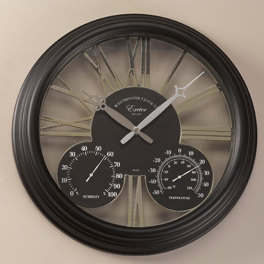 Black Kitchen Clock Argos: Bicketon Wall Clock And Thermometer