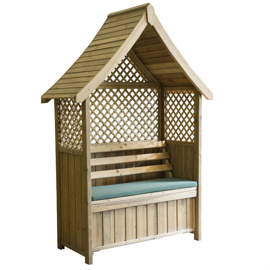 Zest4Leisure Norfolk Garden Arbour with Storage Box & Seat Cushion - Green