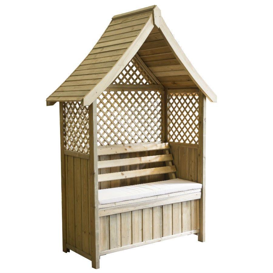 Zest4Leisure Norfolk Garden Arbour with Storage Box & Seat Cushion - Stone