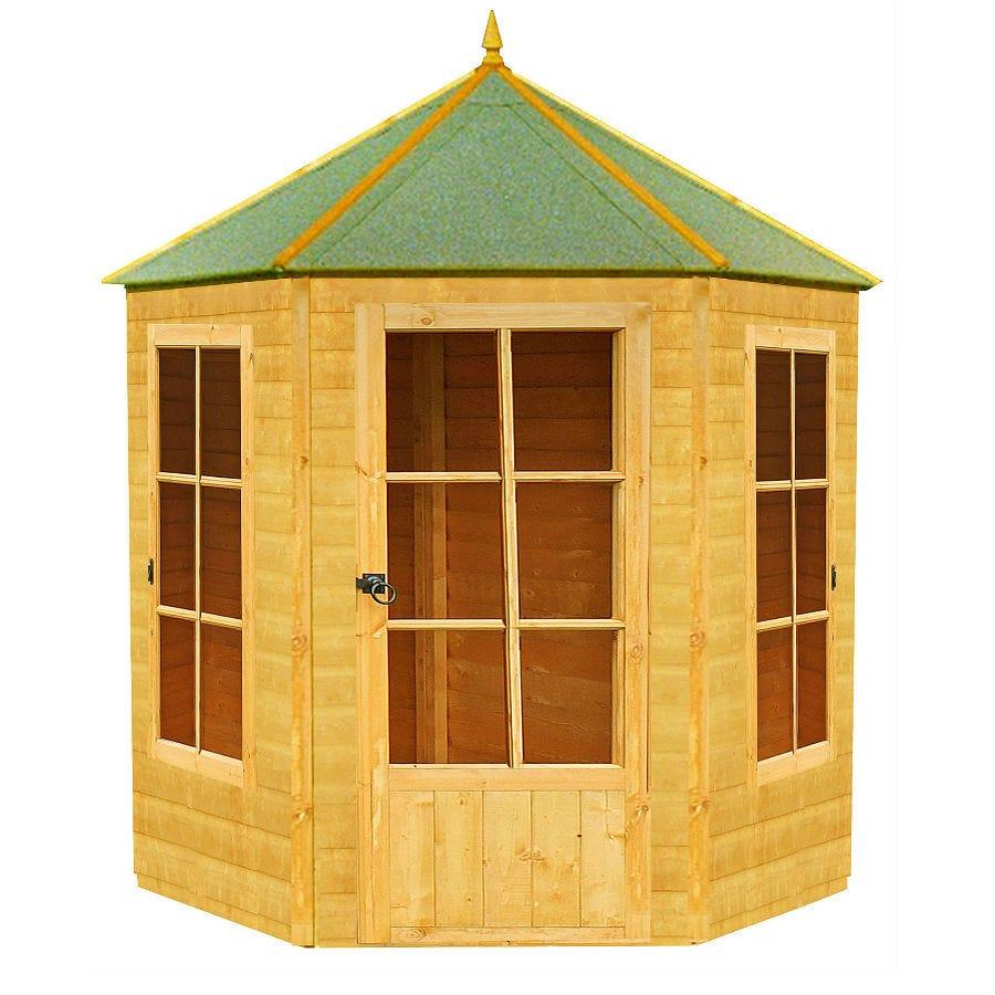 7'1x6'2 Shire Traditional Gazebo Wooden Hexagonal Summer House