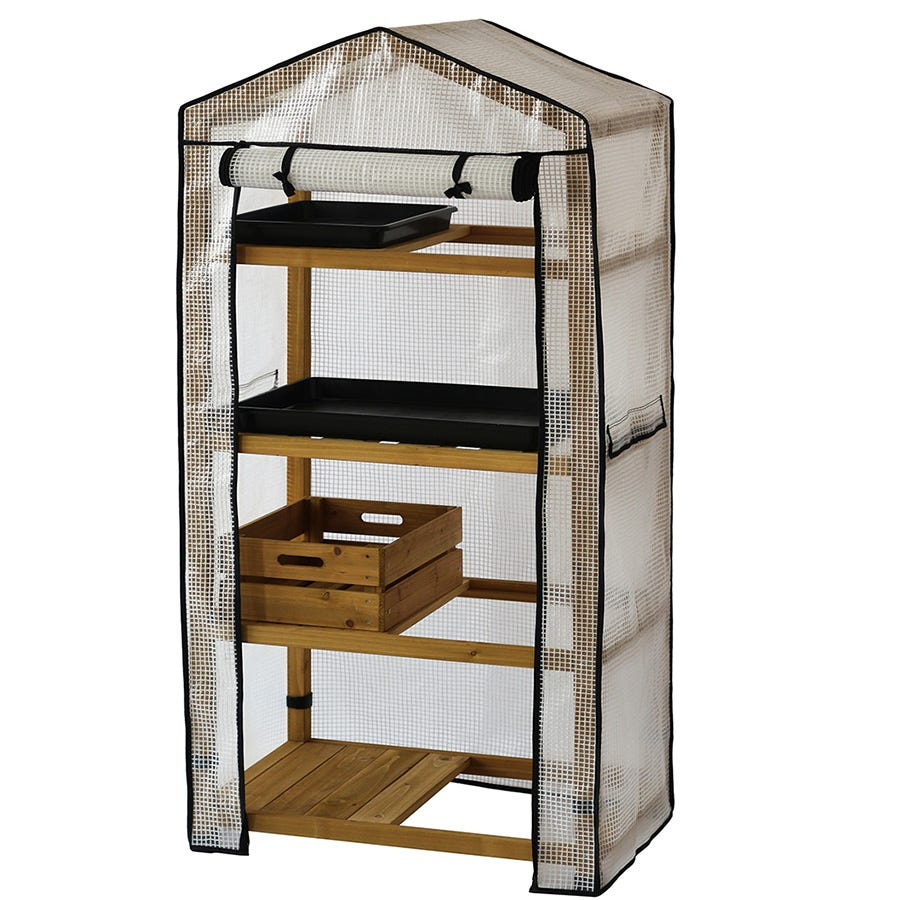 VegTrug 4-Tier Wooden Greenhouse with Cover - Natural