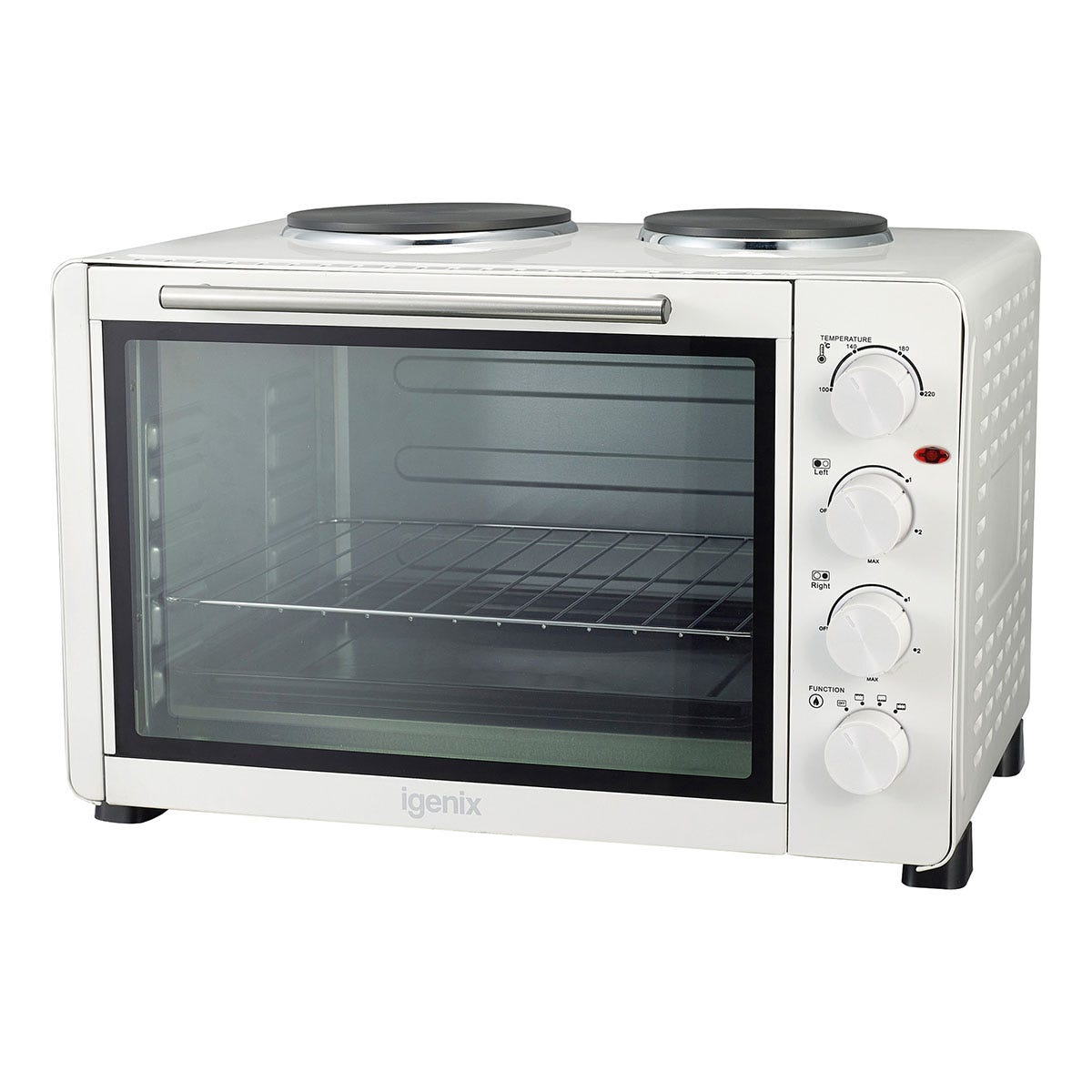 Igenix IG7145 45L Electric Mini Oven and Grill with Double Hot Plates - White