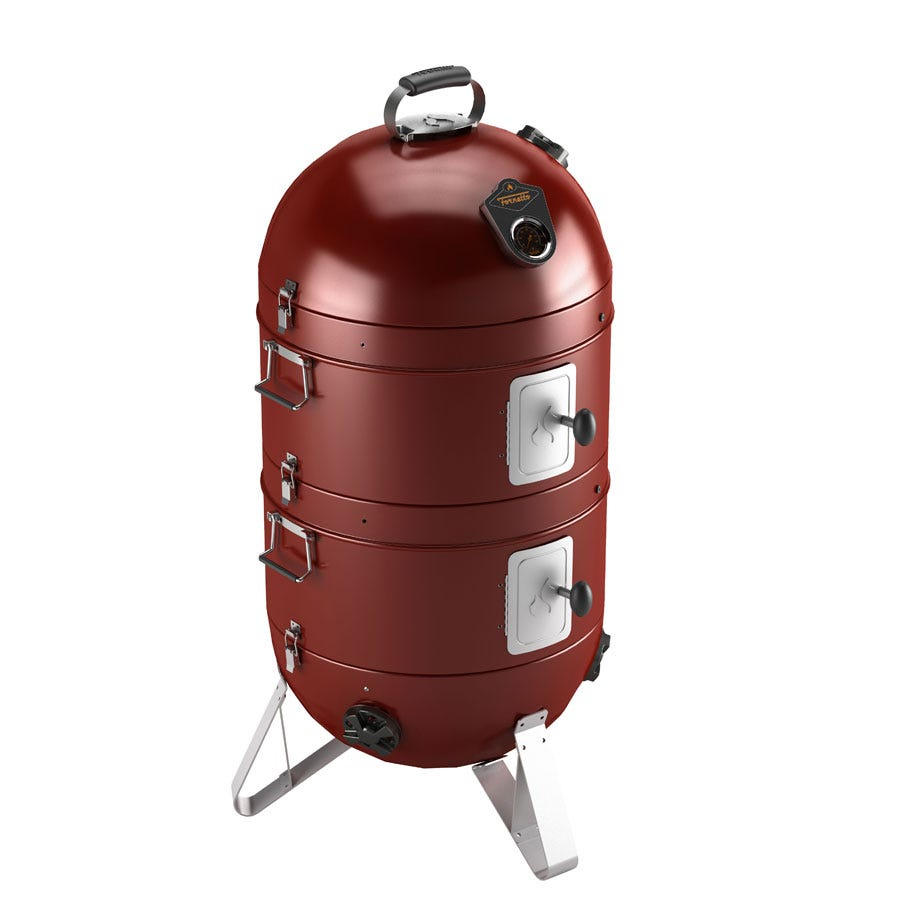 """Fornetto Razzo 18"""" Charcoal BBQ, Grill and Smoker - Red"""