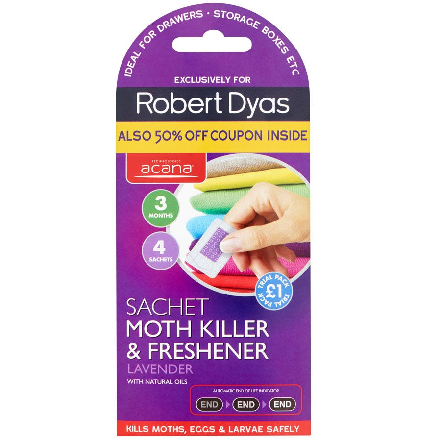 Acana 4 Sachet Moth Killer and Freshener with Coupon - Lavender