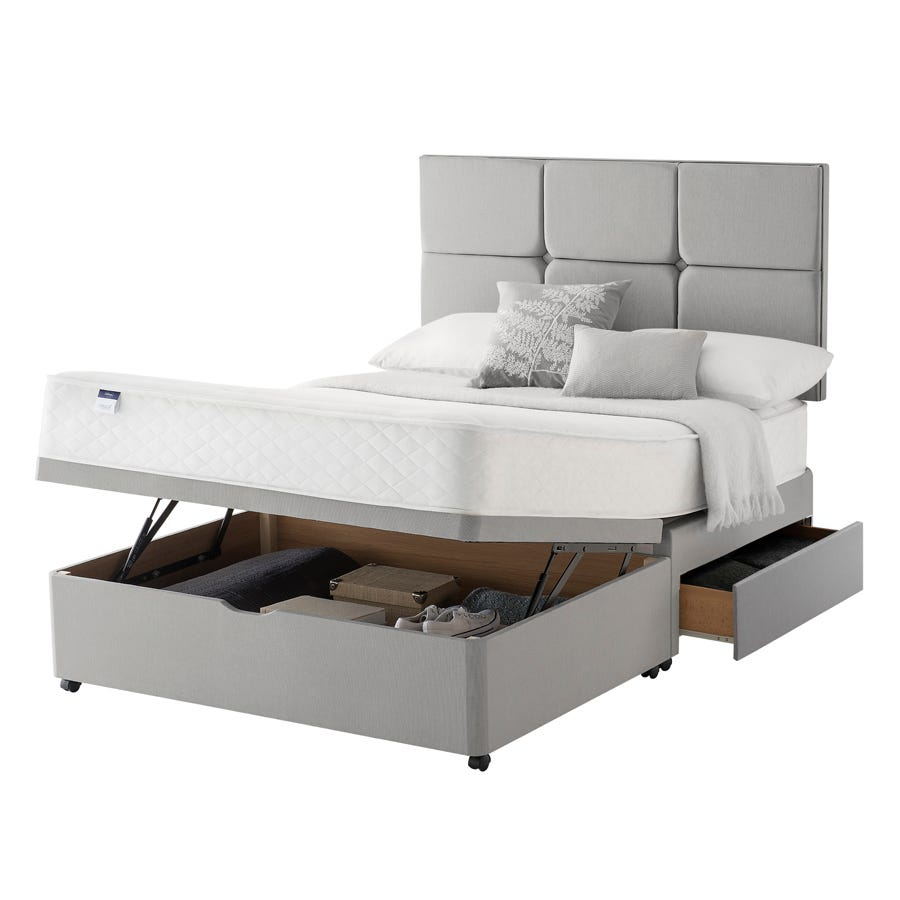 Image of Silentnight Miracoil 135cm Memory Foam Mattress with Ottoman and 2 Drawer Divan Bed Set - Grey