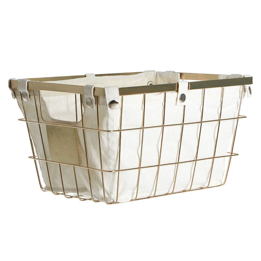 Premier Housewares Wire Storage Basket with Cotton Lining - Gold