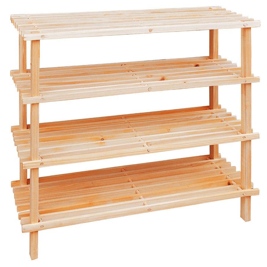 Premier Housewares 4-Tier Wooden Shoe Rack - Natural