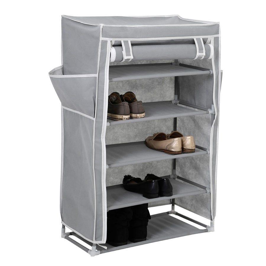 Premier Housewares 5-Tier Fabric Shoe Rack - Grey