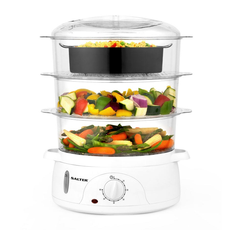Salter 3-Tier Healthy Cooking 9L Food Steamer - White