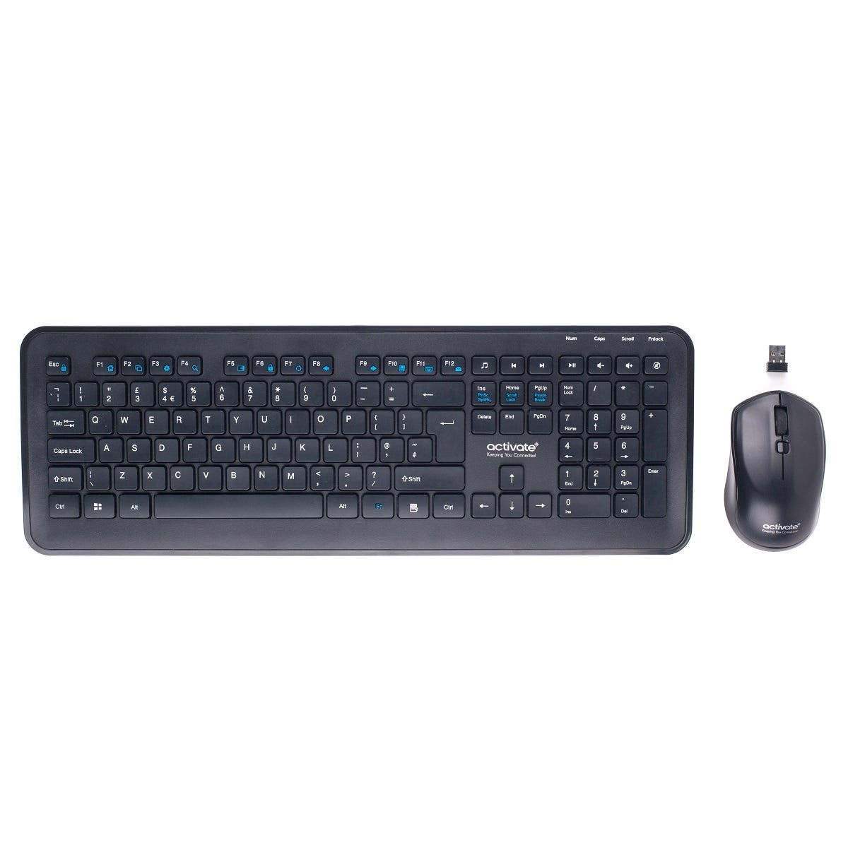 Activ8Rlives Activate Wireless Keyboard and Mouse - Black