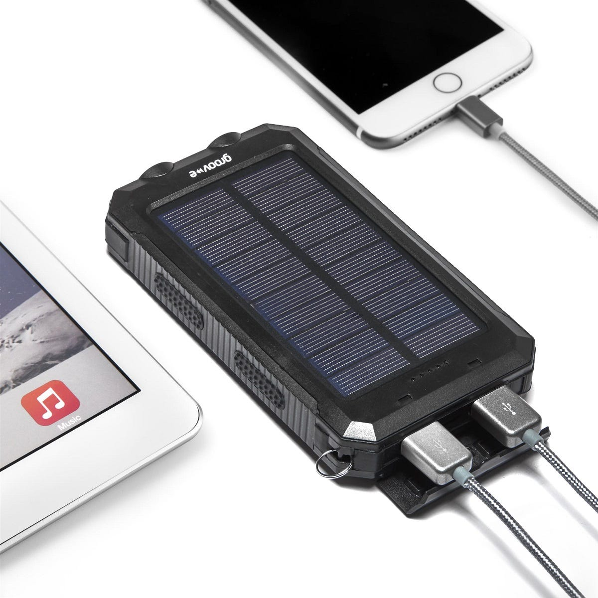 Image of Groov-e Portable Solar Charger 8000mAh with Dual USB - Black