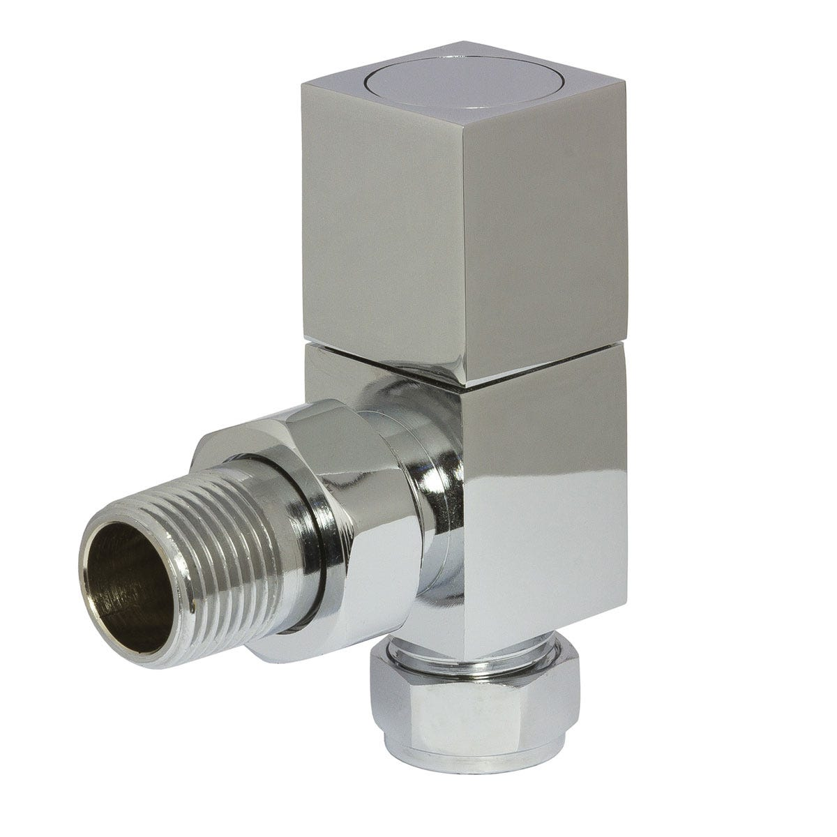 Towelrads Heating Style Square Angled Radiator Valves - Chrome