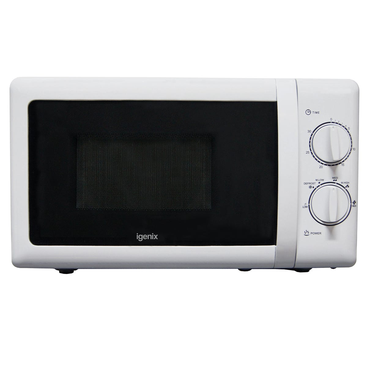 Igenix IG2083 20L 800W Manual Microwave - Stainless Steel/White