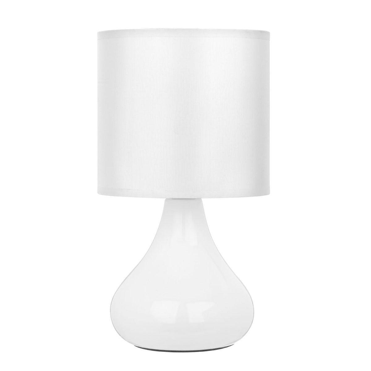 Premier Housewares Bulbus Ceramic Minimalist Table Lamp - White