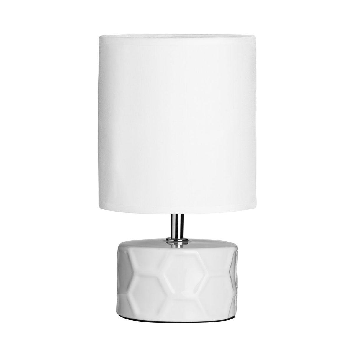 Premier Housewares Honeycomb Ceramic Base Table Lamp - White