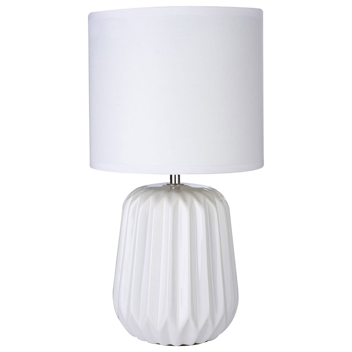 Premier Housewares Winola Table Lamp in White Ceramic with White Fabric Shade