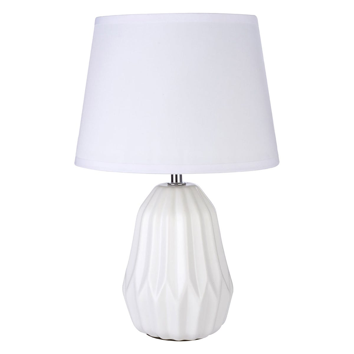 Premier Housewares Winslet Table Lamp in White Ceramic with White Fabric Shade