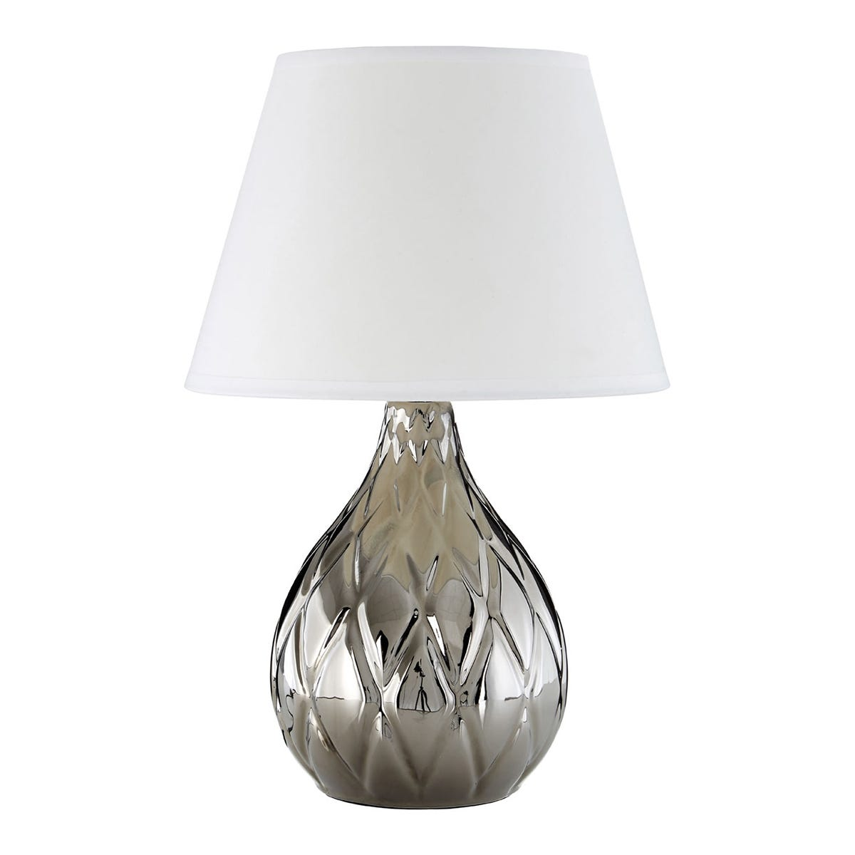 Premier Housewares Hannah Table Lamp in Silver Ceramic with Diamond Detail & White Shade