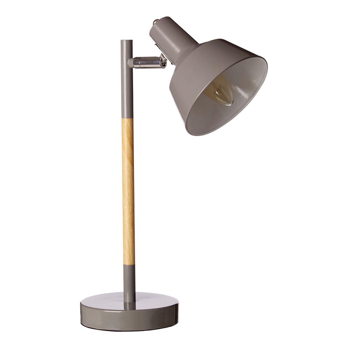 Premier Housewares Bryson Wood Table Lamp - Grey
