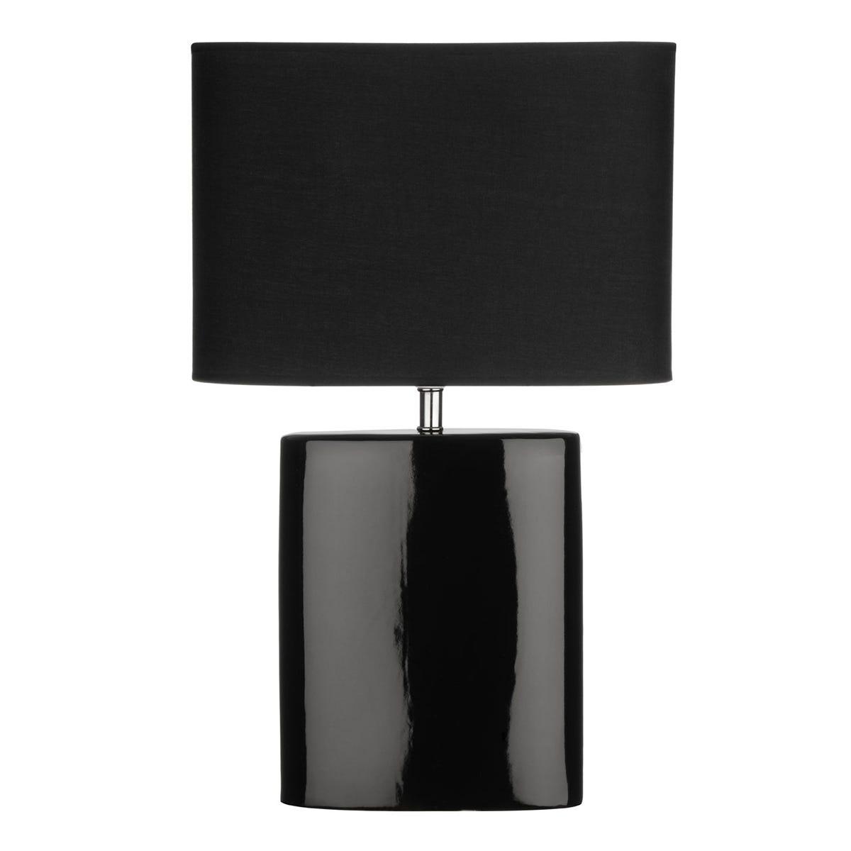 Premier Housewares Ellipse Table Lamp with Black Ceramic Base & Black Fabric Shade