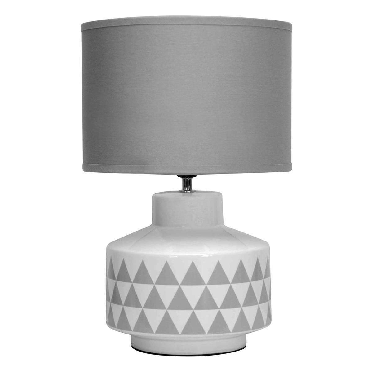 Premier Housewares Wylie Table Lamp in White Ceramic with Grey Fabric Shade